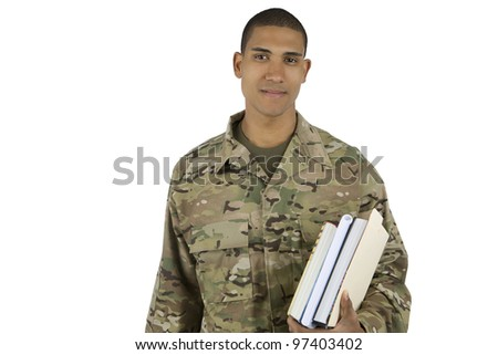 African American Military Man with School Books - stock photo