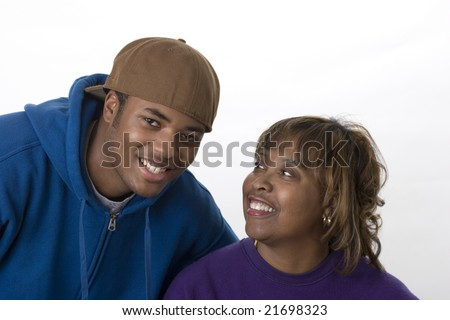 african american mom and son portrait - stock photo