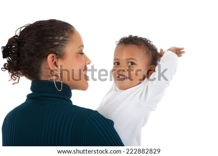 African American Mom Holding Baby Boy Smile on Isolated White Background - stock photo