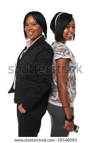 African American mother and daughter isolated on white - stock photo