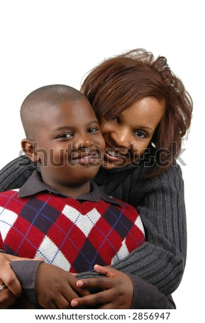 African american mother and son against white background