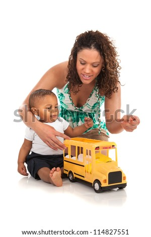 African American Mother Play with Baby Boy on Isolated White Background - stock photo