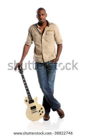 African American musician standing with electric guitar isolated over white background