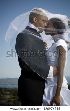 African-American newlywed couple - stock photo
