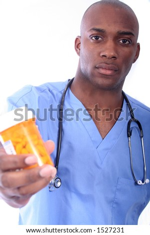 African American Nurse and Pills - stock photo