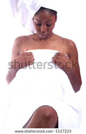 African American Person Relaxing at Spa - stock photo