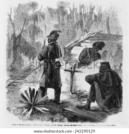 African American pickets of the First Louisiana 'Native Guard' guarding the New Orleans at a position in the swamps during the winter of 1863.