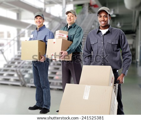 African-American postman and group of workers - stock photo