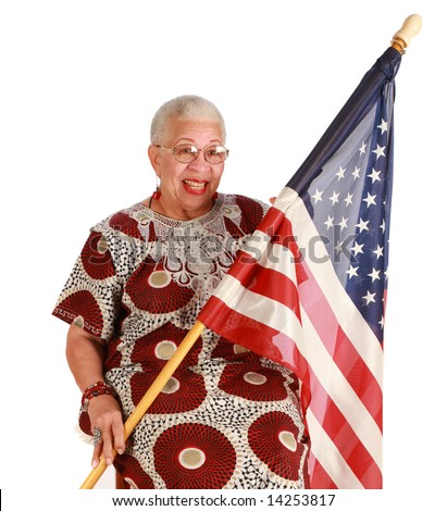 African American retired woman proudly holding US Flag on pure white background - stock photo