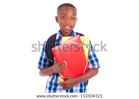 African American school boy, holding folders, isolated on white background - Black people - stock photo