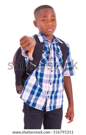 African American school boy making thumbs down, isolated on white background - Black people - stock photo