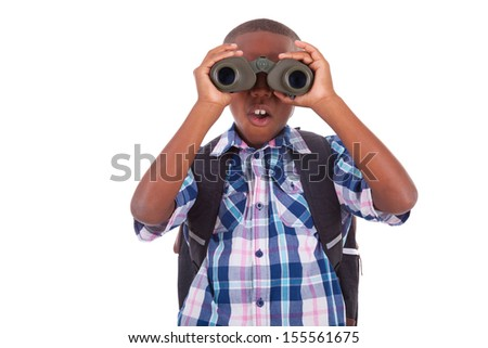 African American school boy using binoculars, isolated on white background - Black people