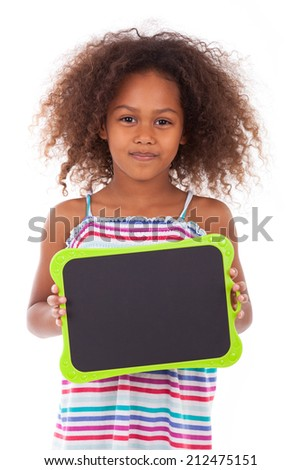 African American school girl holding a blank  black board, isolated on white background - Black people - stock photo