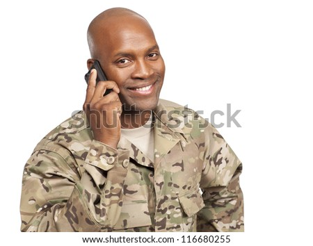 African american serviceman talking on cellphone - stock photo