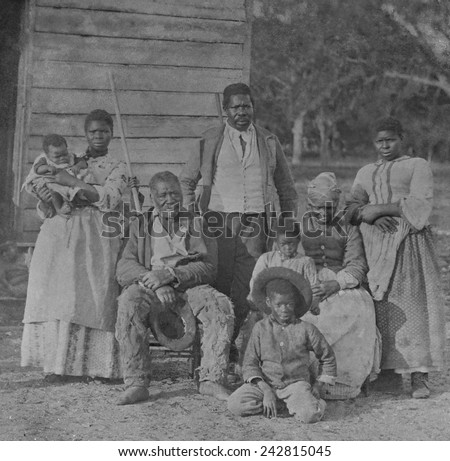 African American slave family representing five generations all born on the plantation of J. J. Smith, Beaufort, South Carolina. - stock photo