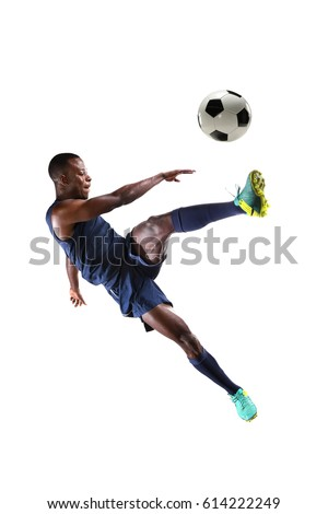 African American soccer player isolated over white background