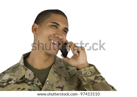 African American Soldier on the Phone