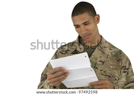 African American Soldier reads a letter
