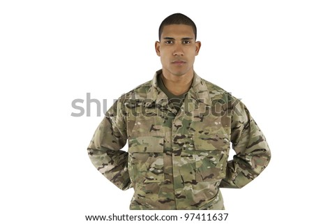African American Soldier Standing at Parade Rest - stock photo