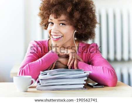 African American student at cafe  - stock photo