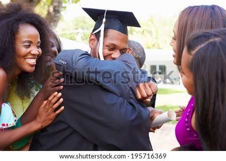 African American Student Celebrates Graduation - stock photo