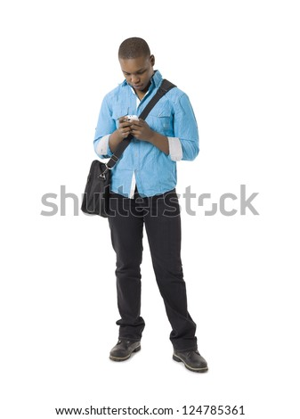 African american student looking at his cellphone