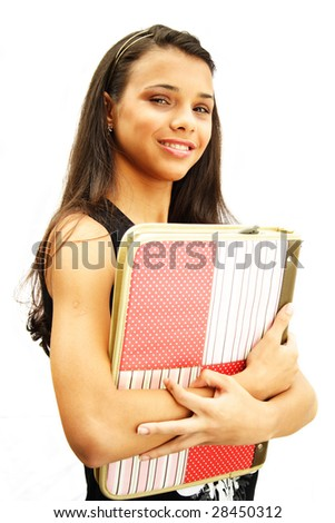 African american student teenager holding her school material - isolated over a white background - stock photo