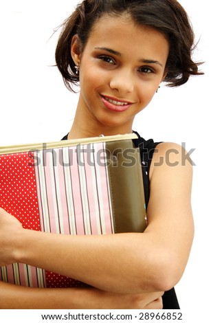 African american student teenager holding her school material - isolated over a white background. - stock photo