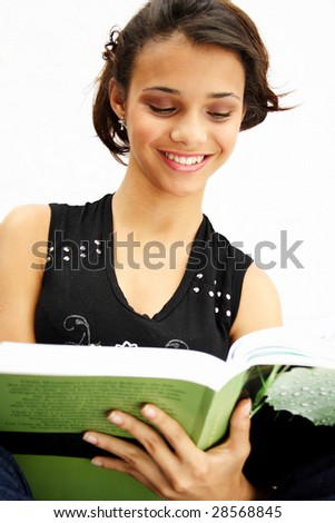 African american student teenager reading her book - isolated over a white background.