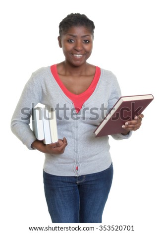 African american student with books