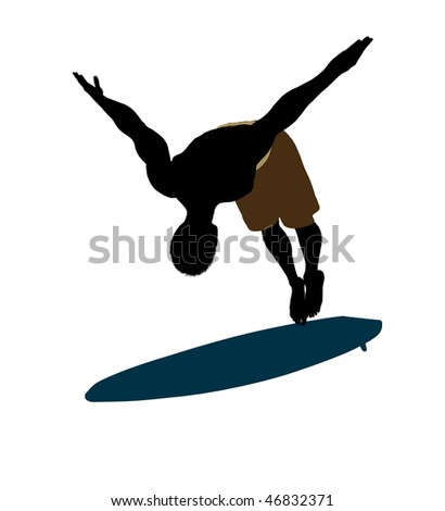 African american surfer on a surfboard silhouette illustration on a white background