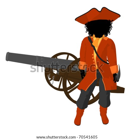 African american teen pirate with a cannon on a white background - stock photo