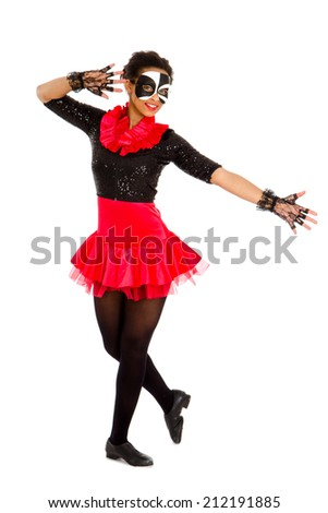 African American Teen Tap Dancer in Black and Red Recital Costume - stock photo