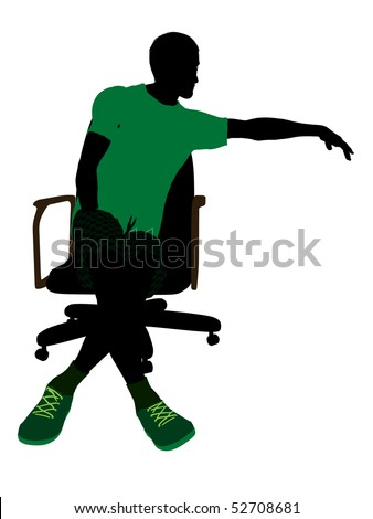 African American tennis player sitting in a chair art illustration silhouette on a white background