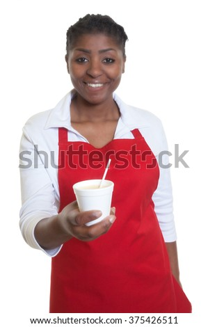 African american waitress serving coffee - stock photo