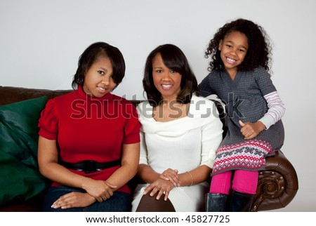 African american woman and her happy daughters