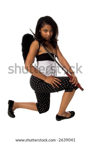 African American woman as a Ninja Angel with black feather wings and an intense expression ready to attack with a  Samurai Sword