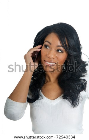 African American Woman chatting on the phone - stock photo