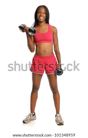 African American woman curling dumbbells standing over white background