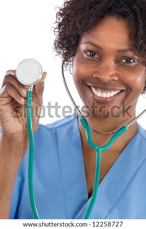 African american woman doctor a over white background