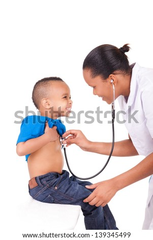 African american woman doctor with child isolated - stock photo