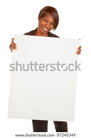 African American Woman Holding a Blank White Sign - stock photo