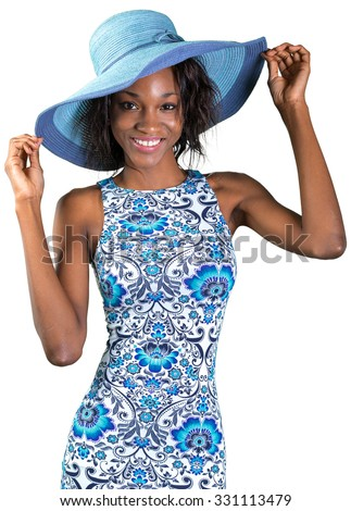 African american woman in blue hat