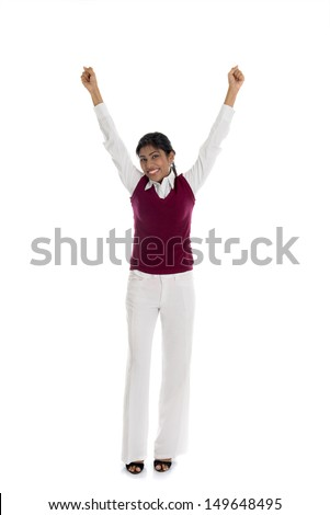 african american woman in casual celebrating success and isolated on white, full body