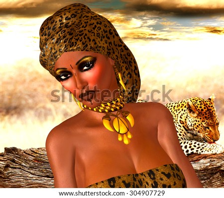 African American Woman in Leopard Print Fashion with Beautiful Cosmetics and Head Scarf. Modern Vogue Pose. A gold abstract background with glowing lights enhances this fashion scene. - stock photo