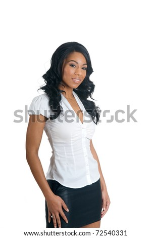 African American Woman in white isolated background - stock photo