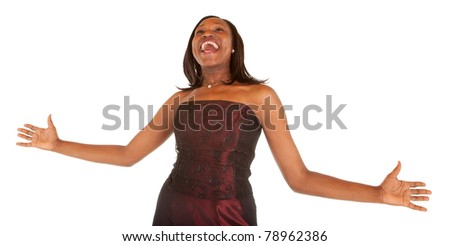 African American Woman Overjoyed About Something. - stock photo