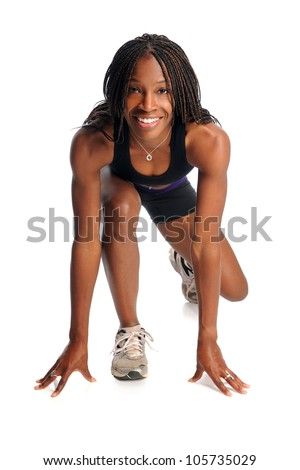 African American woman ready to run isolated over white background - stock photo