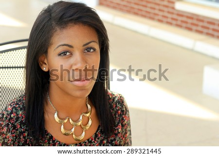 African American Woman Serious and Unhappy One Professional Business Person Black Hair Africa Copy Space