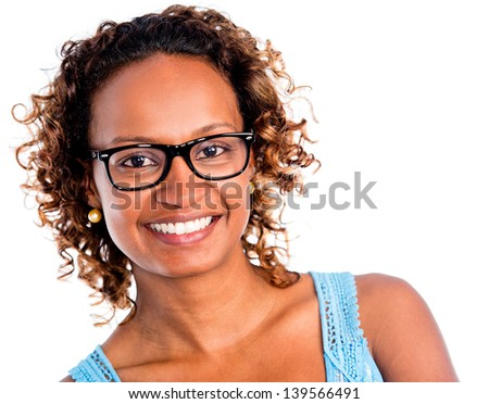 African American woman smiling - isolated over a white background - stock photo